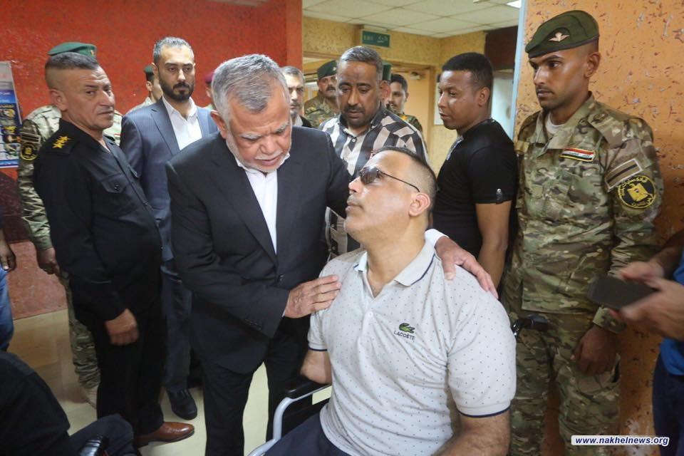 العامري يتفقد جرحى الجيش العراقي الذين اصيبوا في أحداث الطارمية