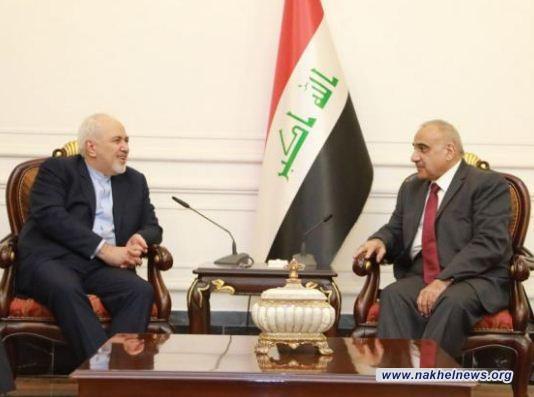 عبد المهدي يبحث مع ظريف لبحث الاوضاع في المنطقة